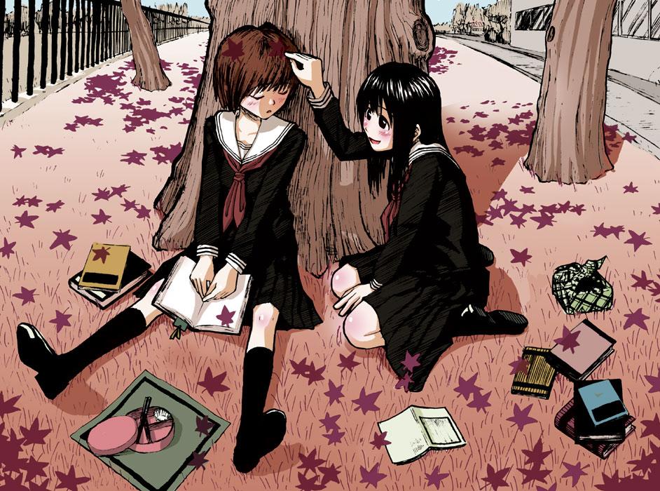 autumn bento_box blush book closed_eyes ikagawa kneeling leaf leaves multiple_girls obento obentou original poke poking quzilax school_uniform sleeping tree trees