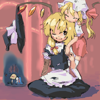 all_fours apron blonde_hair flandre_scarlet gloom_(expression) hat hat_removed headwear_removed hug hug_from_behind kirisame_marisa lowres nametake short_hair side_ponytail sitting torn_clothes touhou waist_apron wings wink witch_hat