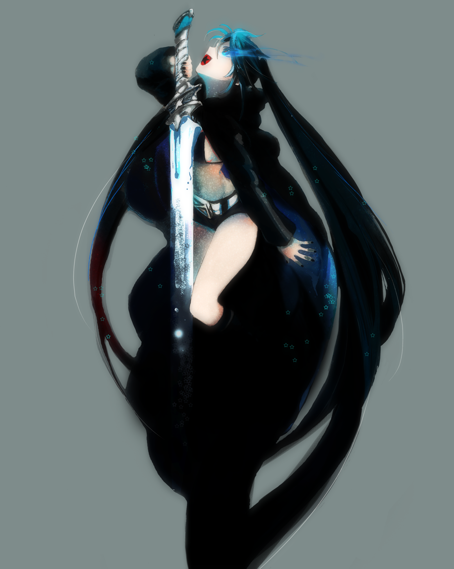 bangs belt bikini_top black_hair black_rock_shooter black_rock_shooter_(character) blue_eyes boots coat flat_chest front-tie_top glowing glowing_eyes hood hooded_jacket huge_weapon jacket knee_boots long_hair looking_up midriff nail_polish pale_skin short_shorts shorts simple_background solo star sword twintails uneven_twintails very_long_hair weapon yuriko_(kkk9)
