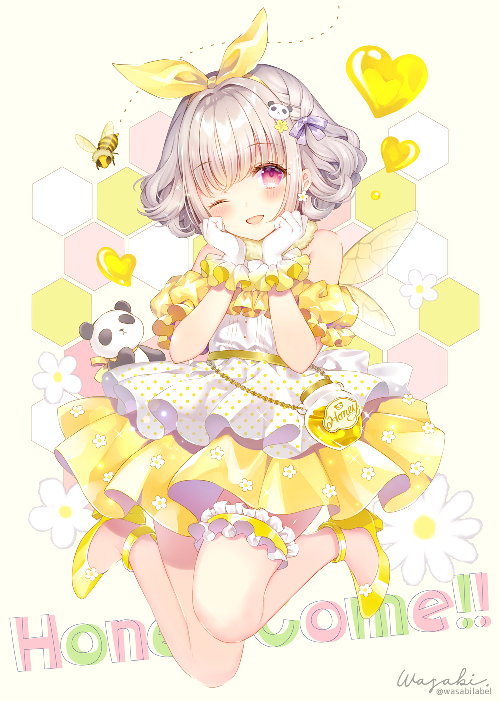 1girl ;d background_text bangs bare_shoulders bee beige_background blush bug commentary_request detached_sleeves earrings english_text eyebrows_visible_through_hair flower flower_earrings full_body gloves grey_hair hair_flower hair_ornament hair_ribbon hands_up heart highres honeycomb_(pattern) insect jewelry kuusou_code_plus nemukawa_yumena one_eye_closed open_mouth panda_hair_ornament pleated_skirt puffy_short_sleeves puffy_sleeves red_eyes ribbon shirt shoes short_hair short_sleeves signature skirt sleeveless sleeveless_shirt smile solo twitter_username virtual_youtuber wasabi_(sekai) white_flower white_gloves white_shirt yellow_flower yellow_footwear yellow_ribbon yellow_skirt yellow_sleeves