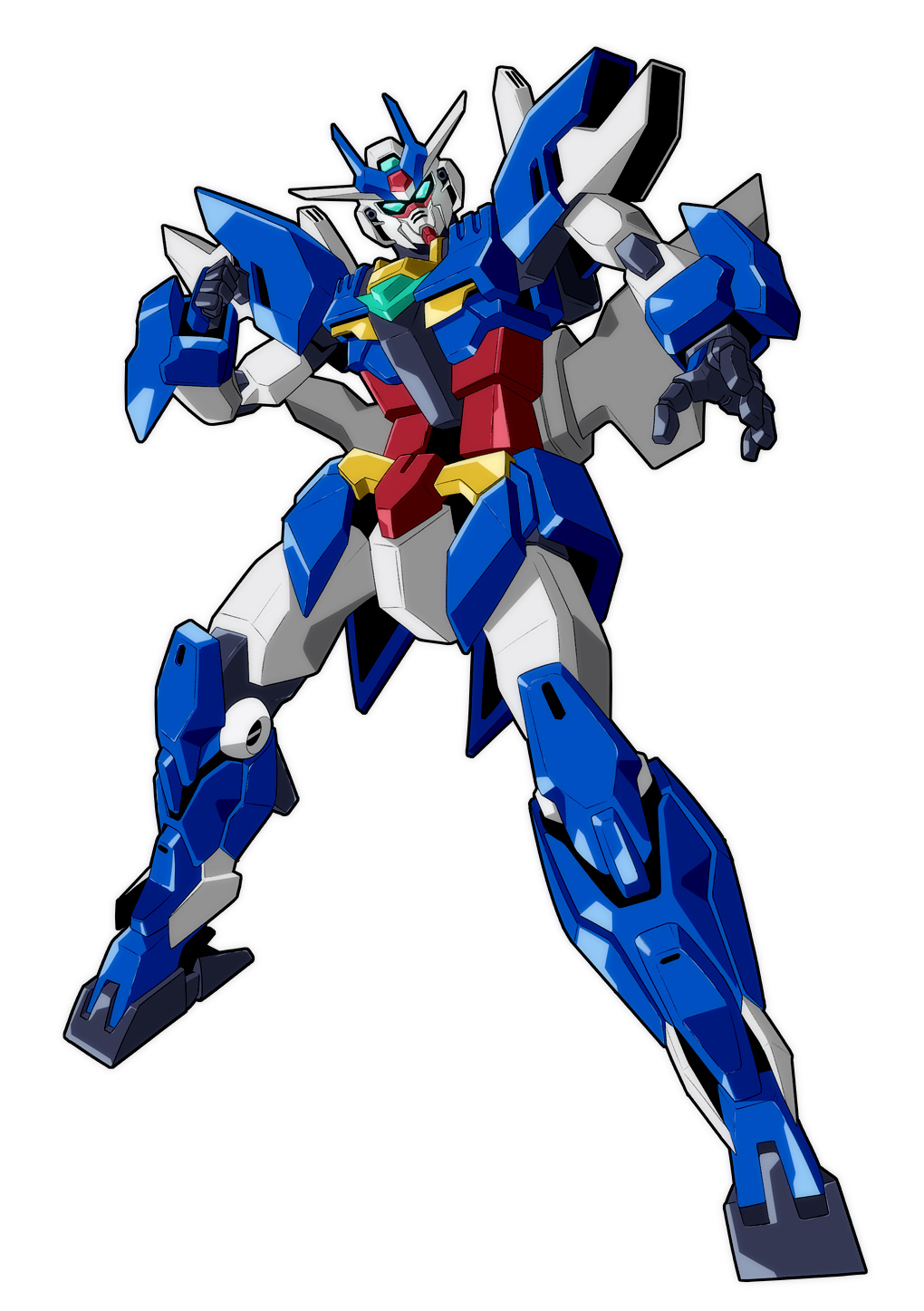 clenched_hand dynamic_pose earthree_gundam green_eyes gundam gundam_build_divers gundam_build_divers_re:rise highres looking_at_viewer mecha no_humans open_hand solo v-fin white_background yu-fukaya-p