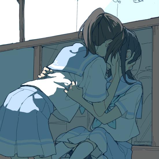 2girls blue_sailor_collar blue_skirt french_kiss hands_on_another's_head hibike!_euphonium kasaki_nozomi kiss kitauji_high_school_uniform liz_to_aoi_tori multiple_girls neckerchief ree_(re-19) sailor_collar school_uniform shirt short_ponytail sitting skirt socks white_legwear white_shirt yoroizuka_mizore yuri
