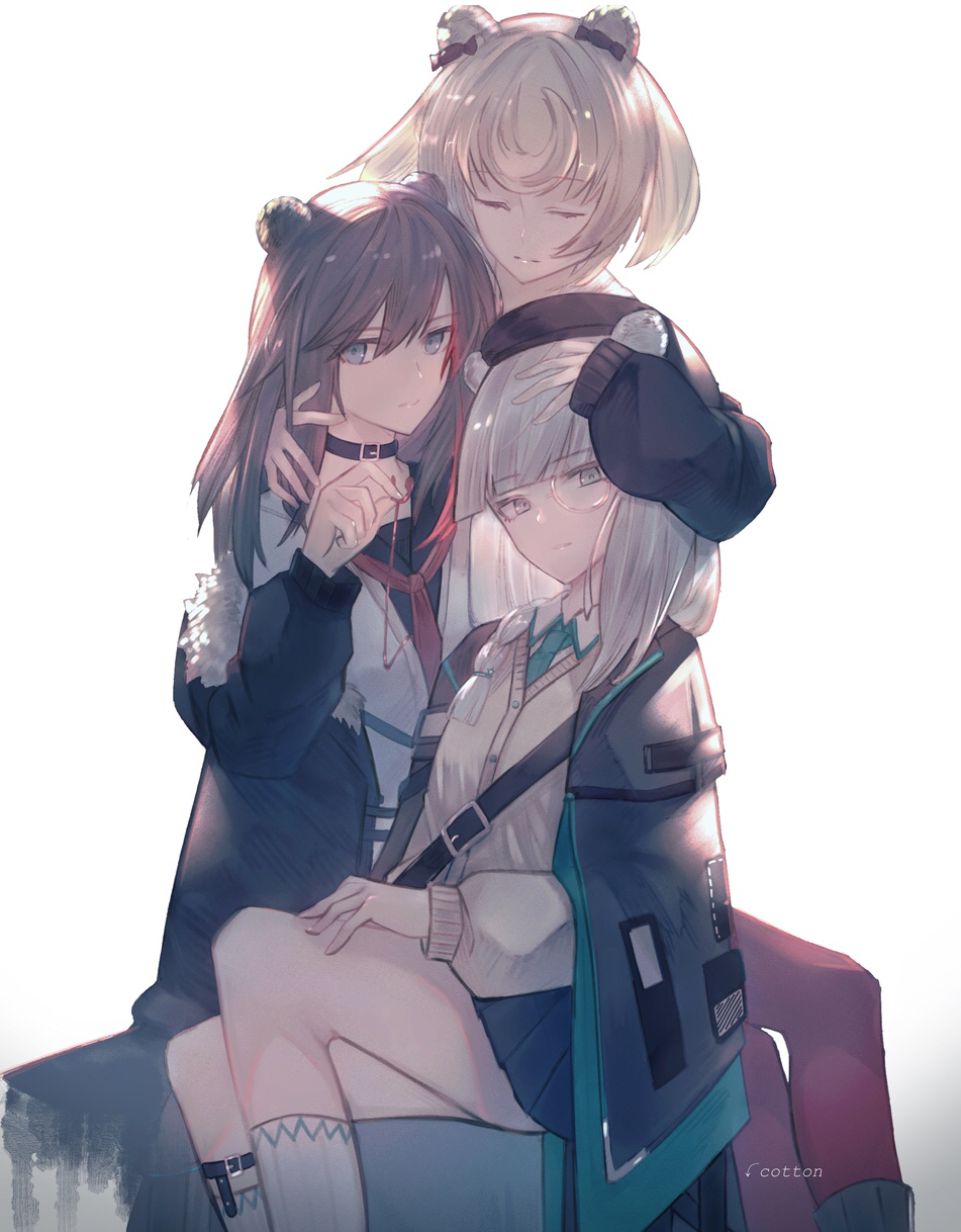 3girls :| animal_ears arknights artist_name backlighting bangs bear_ears belt beret black_bow black_hair black_headwear black_jacket black_sweater blunt_bangs bow braid brown_hair cardigan choker closed_eyes closed_mouth cotton_(cotton_toriatsu) earphones earphones_removed earpiece english_commentary eyebrows_visible_through_hair fur_trim grey_eyes gummy_(arknights) hair_bow hair_ribbon hand_on_another's_head hand_on_own_knee hand_on_own_thigh hat highres holding_earphone hug istina_(arknights) jacket long_hair long_sleeves looking_at_viewer monocle multicolored_hair multiple_girls necktie pleated_skirt puffy_sleeves redhead ribbon shirt silver_hair simple_background sitting skirt sleeves_past_wrists socks strap streaked_hair sweater swept_bangs two-tone_hair white_background white_legwear white_shirt zima_(arknights)