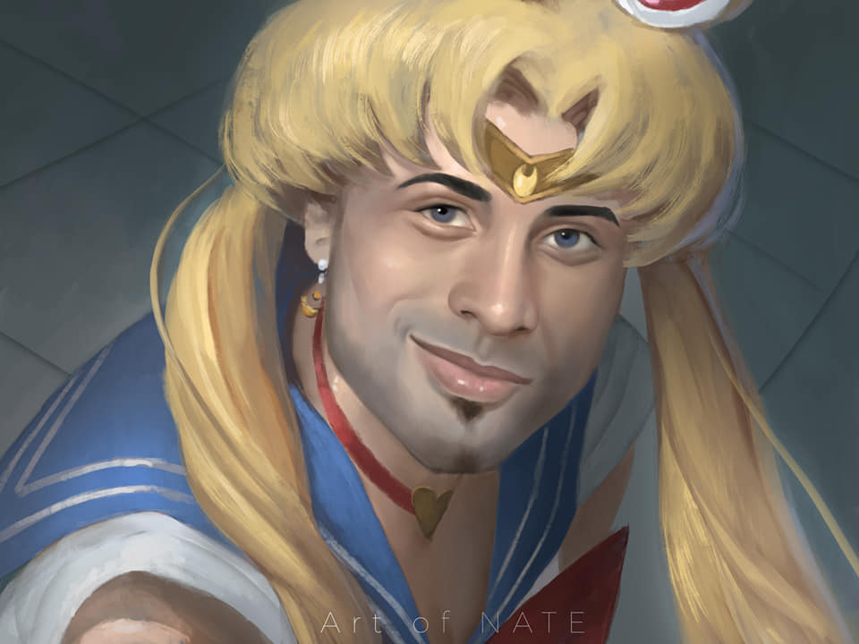 1boy art_of_nate bishoujo_senshi_sailor_moon blonde_hair blue_eyes blue_sailor_collar bow bowtie choker closed_mouth cosplay crescent crescent_earrings crossdressing diadem earrings facial_hair gachimuchi goatee hair_ornament heart heart_choker jewelry long_hair looking_at_viewer male_focus parody red_choker red_neckwear ricardo_milos sailor_collar sailor_moon sailor_moon_(cosplay) sailor_moon_redraw_challenge shirt smile smirk smug solo twintails white_shirt