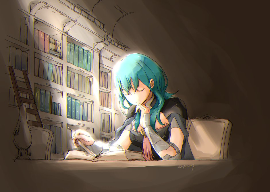 1girl armor blue_hair book bookshelf byleth_(fire_emblem) byleth_(fire_emblem)_(female) byleth_eisner_(female) chair closed_eyes closed_mouth female_my_unit_(fire_emblem:_fuukasetsugetsu) fire_emblem fire_emblem:_fuukasetsugetsu fire_emblem:_three_houses fire_emblem_16 intelligent_systems my_unit_(fire_emblem:_fuukasetsugetsu) nintendo open_book robaco sitting solo twitter_username