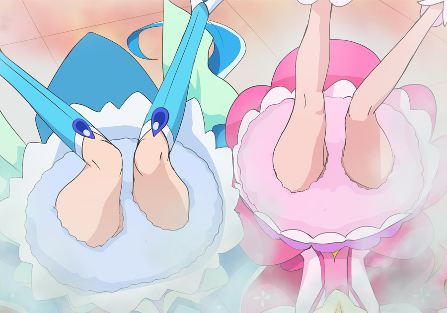 2girls blue_hair blue_legwear cure_fontaine cure_grace hanadera_nodoka haruyama_kazunori head_out_of_frame healin'_good_precure legs long_hair magical_girl multiple_girls pink_hair precure sawaizumi_chiyu skirt steam thigh-highs thighs upside-down