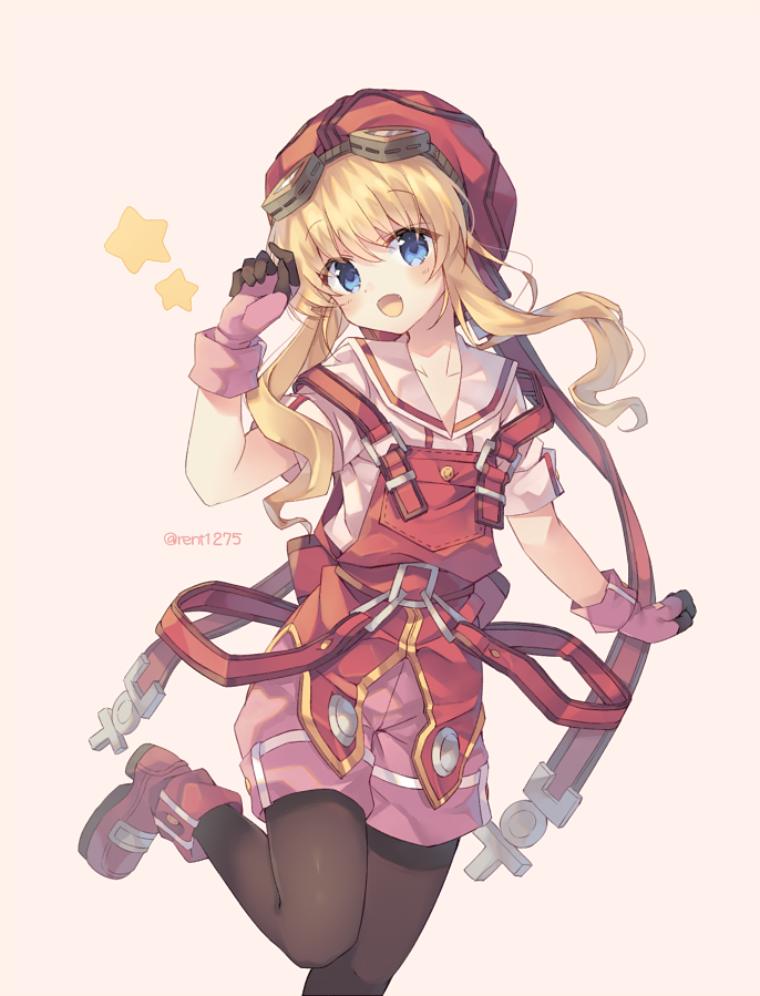 1girl :d black_legwear blonde_hair blue_eyes blush boots cowboy_shot eiyuu_densetsu eyebrows_visible_through_hair gloves goggles goggles_on_head hair_between_eyes hat long_hair looking_at_viewer open_mouth overalls pantyhose pink_background pink_gloves pink_shorts red_footwear red_headwear red_overalls rento_(rukeai) sailor_collar shirt short_sleeves shorts sidelocks simple_background smile solo sora_no_kiseki standing standing_on_one_leg star strap tita_russell twitter_username white_shirt