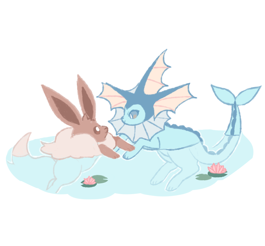 brown_eyes charamells commentary creature eevee english_commentary eye_contact full_body gen_1_pokemon grey_eyes happy lily_pad looking_at_another no_humans pokemon pokemon_(creature) simple_background smile swimming water white_background