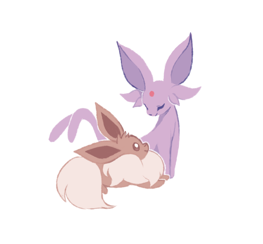 charamells closed_eyes closed_mouth commentary creature eevee english_commentary facing_another full_body gen_1_pokemon happy looking_at_another no_humans pokemon pokemon_(creature) simple_background smile white_background