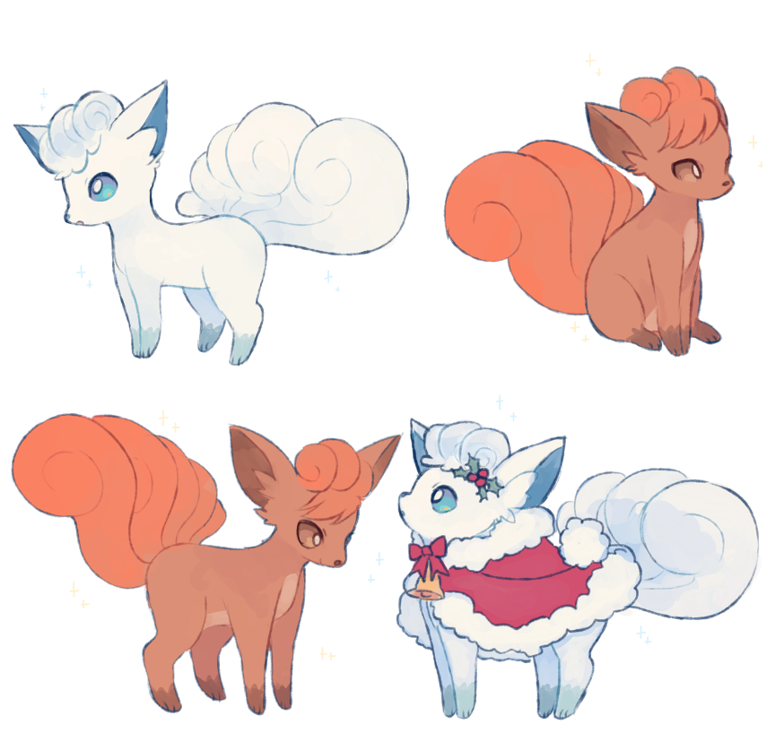 alolan_and_normal alolan_form alolan_vulpix blue_eyes brown_eyes cape charamells clothed_pokemon commentary creature english_commentary full_body gen_1_pokemon gen_7_pokemon no_humans pokemon pokemon_(creature) simple_background sitting standing vulpix white_background