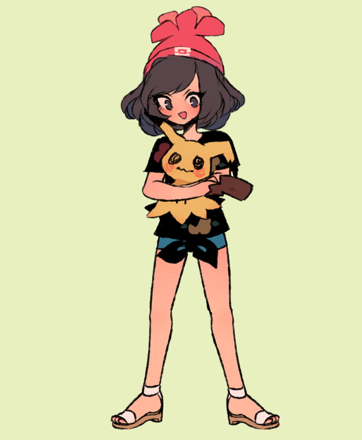 :d beanie black_eyes black_shirt blush charamells commentary creature english_commentary full_body gen_7_pokemon hat holding holding_pokemon legs_apart looking_at_viewer mimikyu open_mouth pokemon pokemon_(creature) red_headwear sandals shirt short_hair short_sleeves shorts simple_background smile standing tied_shirt yellow_background
