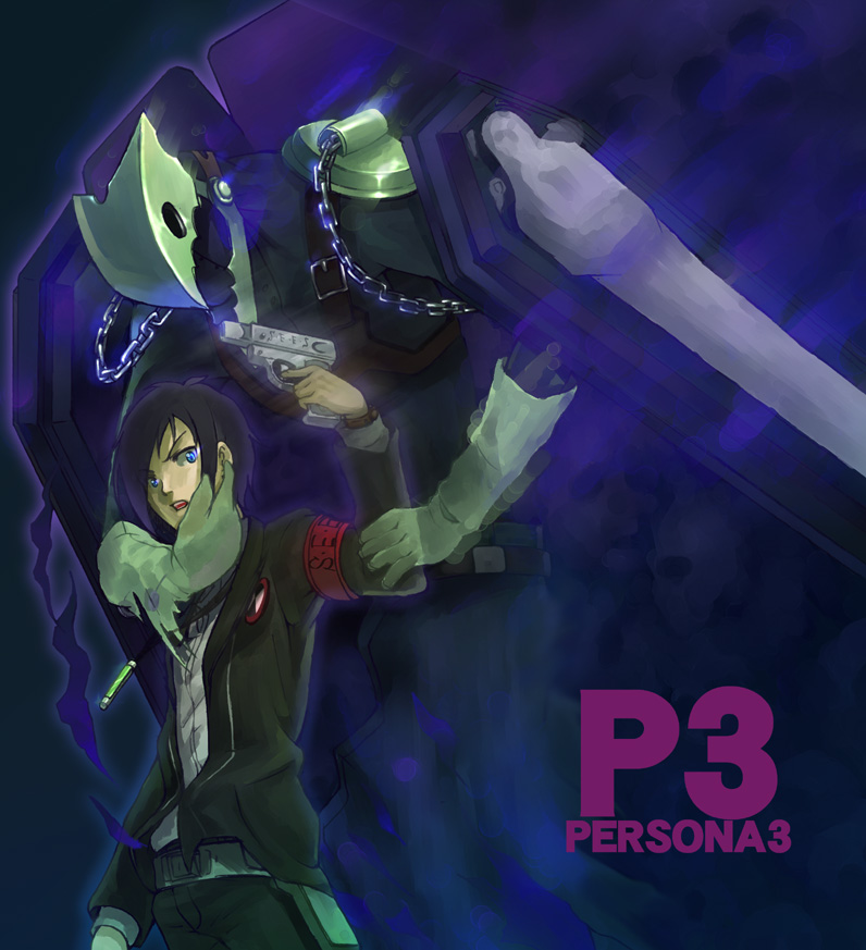 armband evoker gun male male_only mkpower persona persona_3 taru_neko thanatos weapon