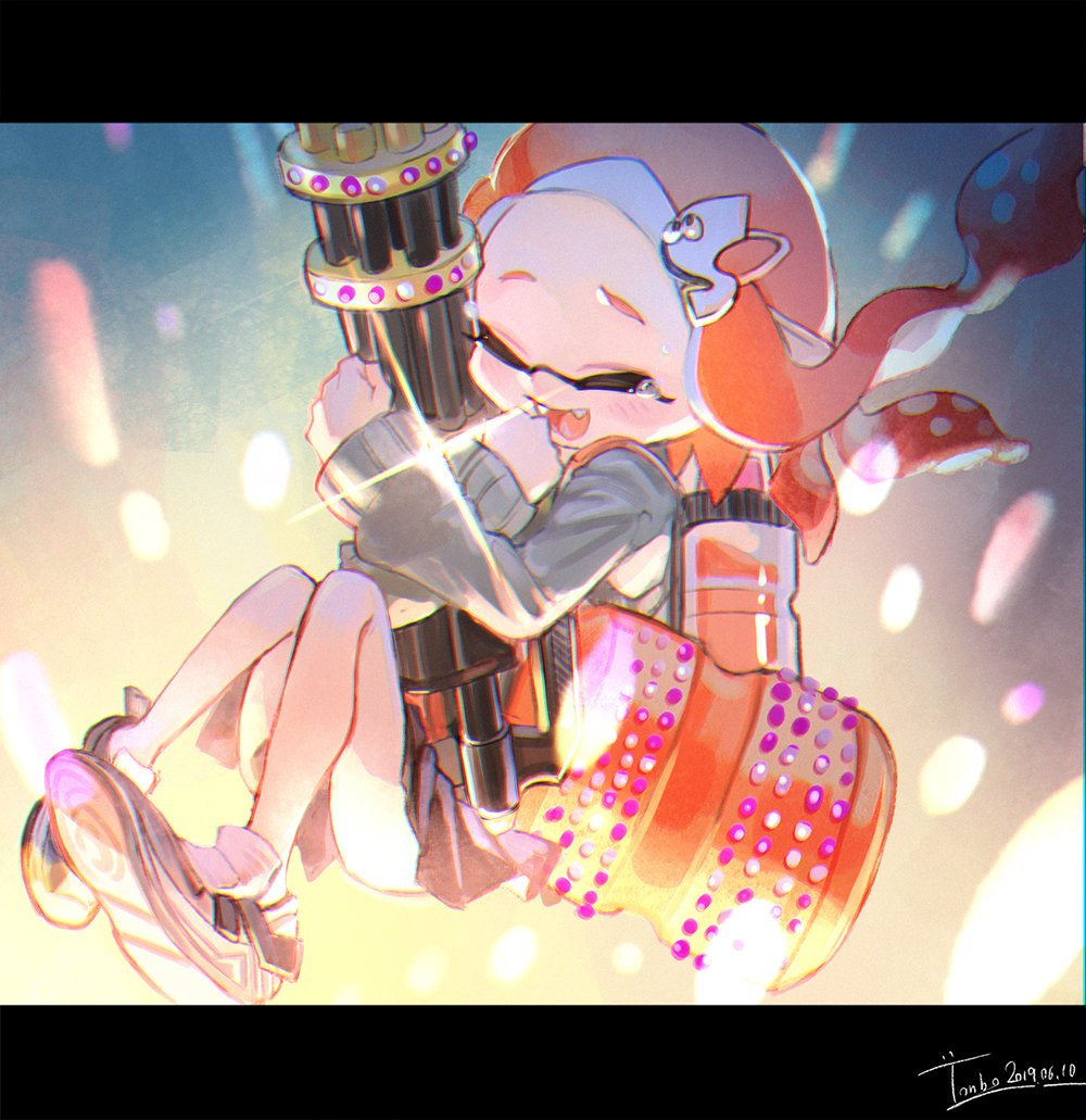 1girl :d aka_tonbo_(lovetow) artist_name closed_eyes commentary dated diffraction_spikes domino_mask fangs floating grey_sweater hair_ornament hairclip heavy_splatling_(splatoon) holding holding_weapon ink_tank_(splatoon) inkling legs_up letterboxed long_hair mask miniskirt open_mouth orange_hair pleated_skirt pointy_ears shoes signature skirt smile sneakers solo splatoon_(series) splatoon_2 sweater tearing_up tentacle_hair weapon white_footwear