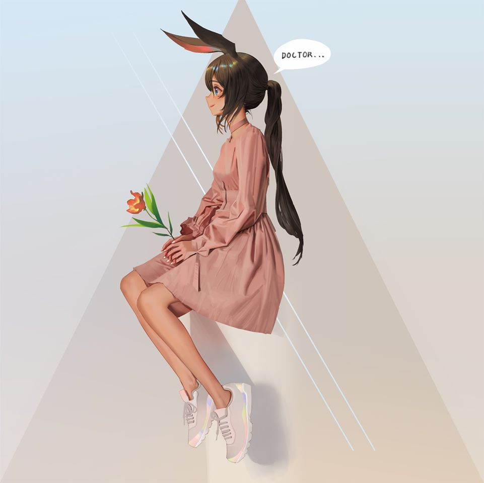 1girl abstract_background amiya_(arknights) animal_ears arknights blue_eyes brown_hair bunny_girl closed_mouth dress english_text flower leaf looking_away pink_dress plant rabbit_ears shoes simple_background sitting sneakers solo wonbin_lee