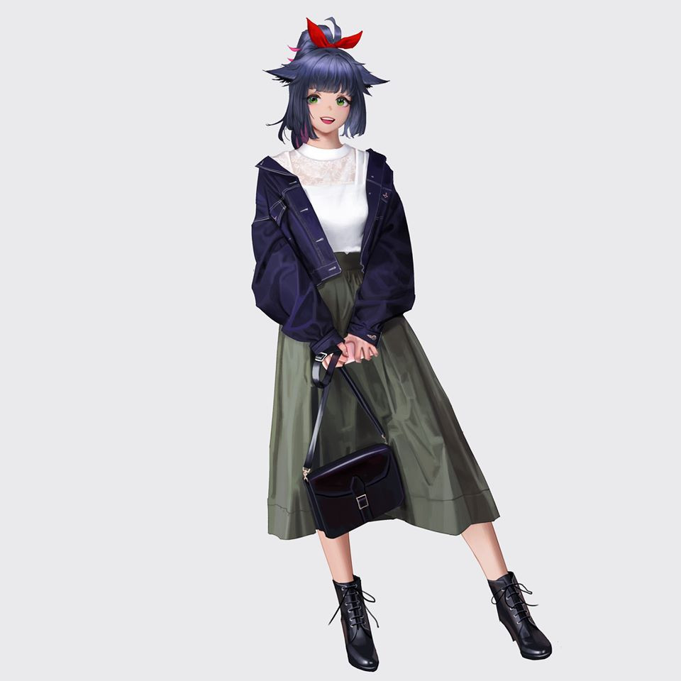 1girl arknights bag blue_jacket bow dress green_dress green_eyes hair_bow handbag jacket jessica_(arknights) looking_at_viewer open_mouth purple_hair red_bow shirt shoes simple_background solo white_background white_shirt wonbin_lee