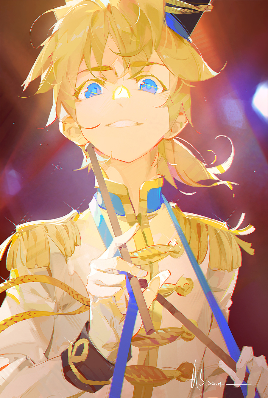1boy a-shacho blonde_hair blue_eyes commentary dated drumsticks epaulettes glint gloves grin hat highres holding holding_drumsticks kagamine_len long_sleeves male_focus ponytail short_ponytail signature smile solo upper_body vocaloid white_gloves