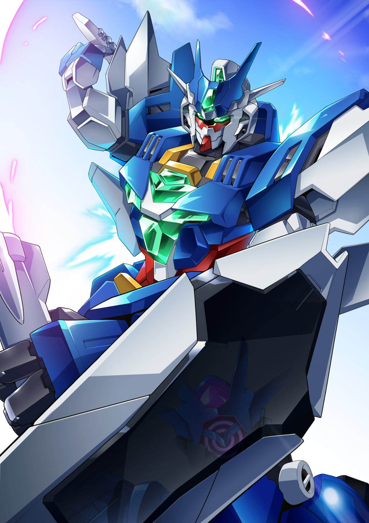 alus_core_gundam beam_saber dual_wielding earthree_gundam gamiani_zero glowing glowing_eyes green_eyes gundam gundam_build_divers gundam_build_divers_re:rise highres holding holding_weapon looking_ahead mecha no_humans reflection shield sky solo solo_focus weapon