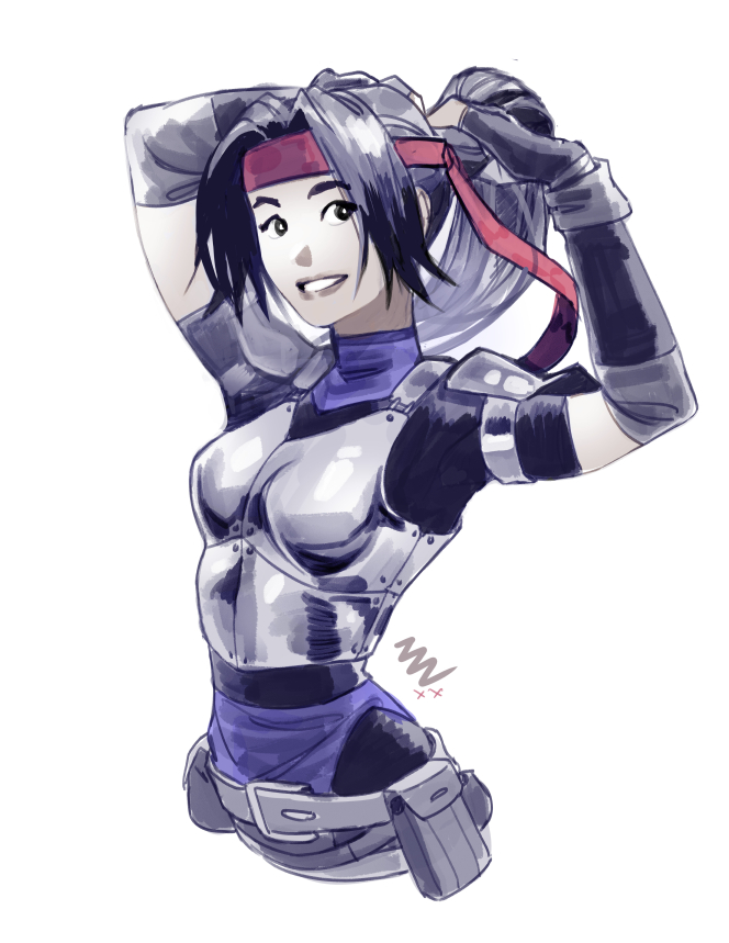 1girl adjusting_hair black_hair blue_leotard bodysuit_under_clothes boobplate breastplate commentary elbow_sleeve english_commentary final_fantasy final_fantasy_vii final_fantasy_vii_remake headband jessie_rasberry leotard leotard_under_clothes long_hair mike_nesbitt ponytail red_headband revision shoulder_armor solo upper_body