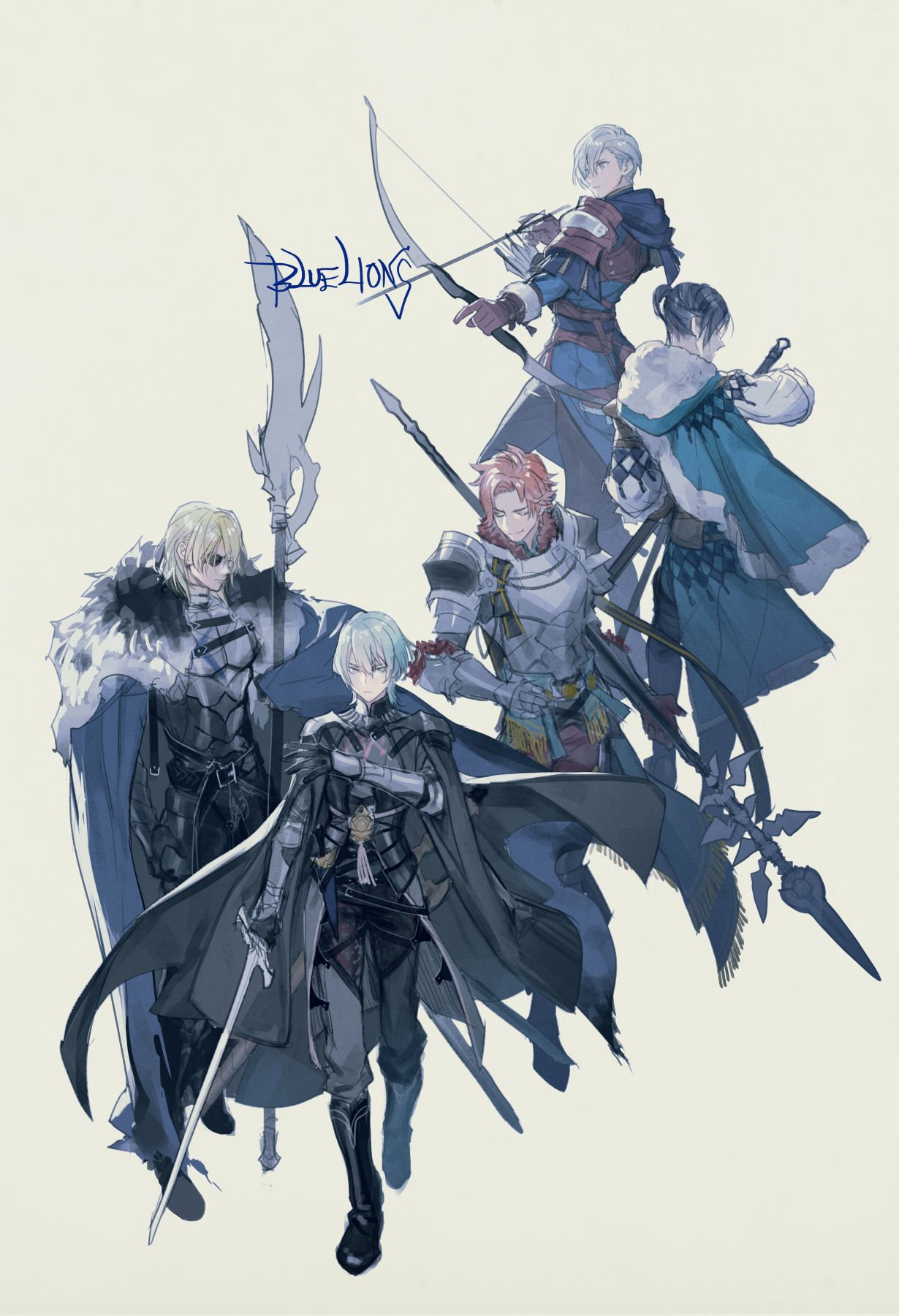 5boys areadbhar_(fire_emblem) armor armored_boots arrow_(projectile) ashe_ubert back bangs belt black_cape black_footwear black_gloves black_hair black_pants blonde_hair blue_cloak boots bow_(weapon) breastplate brown_gloves byleth_(fire_emblem) byleth_(fire_emblem)_(male) cape cloak closed_eyes closed_mouth commentary dimitri_alexandre_blaiddyd english_text eyepatch felix_hugo_fraldarius fire_emblem fire_emblem:_three_houses full_body fur-trimmed_cape fur_trim gauntlets gloves green_eyes green_hair grey_background grey_eyes hair_between_eyes highres holding holding_weapon lance leather leather_gloves looking_at_viewer medium_hair multiple_boys orange_hair p-nekor pants parted_bangs polearm ponytail quiver short_hair shoulder_armor silver_hair simple_background spear sword sword_of_the_creator sylvain_jose_gautier vambraces waistcoat walking weapon