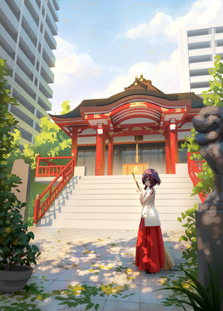 1girl alice_gear_aegis box broom building chishima_miyuki closed_mouth clouds commentary_request donation_box eyebrows_behind_hair glasses holding holding_broom japanese_clothes komainu leaf miko pinakes purple_hair shrine sky stairs statue sunlight sweeping