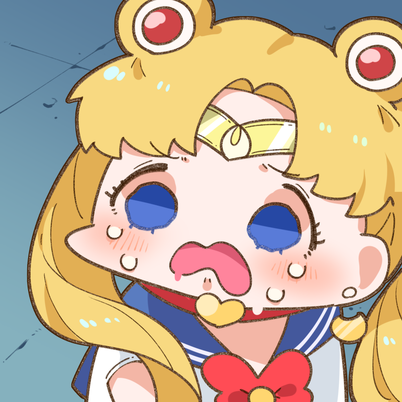 1girl bangs bishoujo_senshi_sailor_moon blonde_hair blue_eyes blush bow chibi choker crescent crescent_earrings crying crying_with_eyes_open derivative_work earrings empty_eyes eyelashes furrowed_eyebrows heart heart_choker jewelry long_hair low_twintails open_mouth parted_bangs red_bow sailor_collar sailor_moon sailor_moon_redraw_challenge screencap_redraw shiny shiny_hair shirt short_sleeves solo takatoo_kurosuke tears twintails upper_body wavy_mouth white_shirt