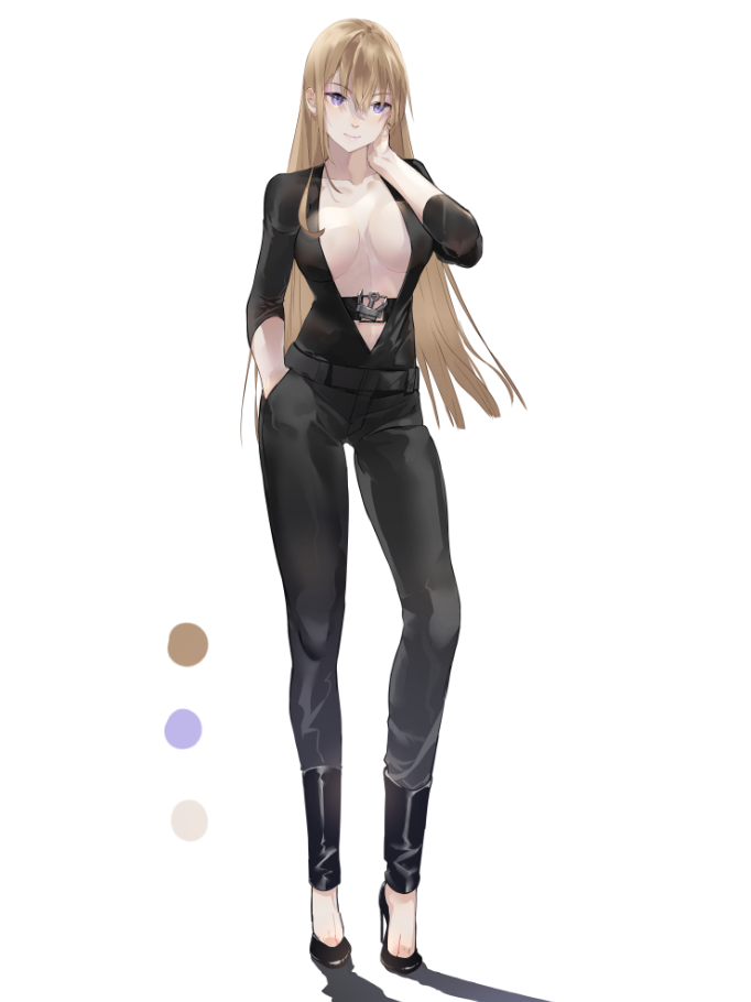 1girl alternate_costume bismarck_(kantai_collection) black_pants blonde_hair blue_eyes breasts collarbone full_body kantai_collection large_breasts long_hair nello_(luminous_darkness) no_bra pants plunging_neckline simple_background solo standing white_background