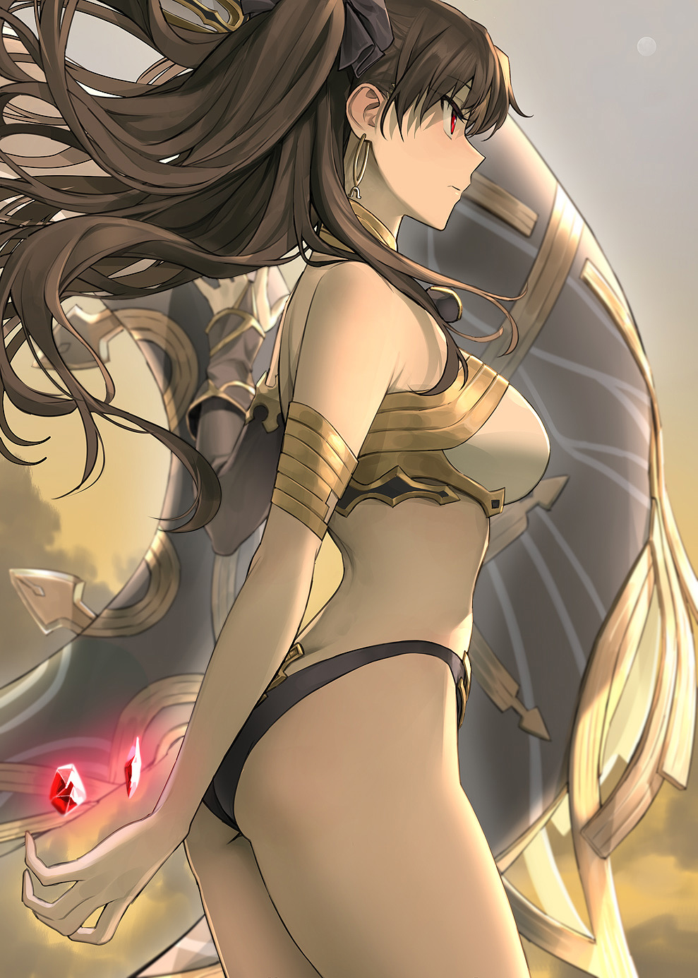 1girl armlet ass asymmetrical_sleeves back bangs bare_shoulders black_bow black_hair bow breasts closed_mouth earrings fate/grand_order fate_(series) gem gold_trim hair_bow heavenly_boat_maanna highres hoop_earrings hyury ishtar_(fate)_(all) ishtar_(fate/grand_order) jewelry large_breasts long_hair red_eyes ruby_(gemstone) thighs tiara weapon