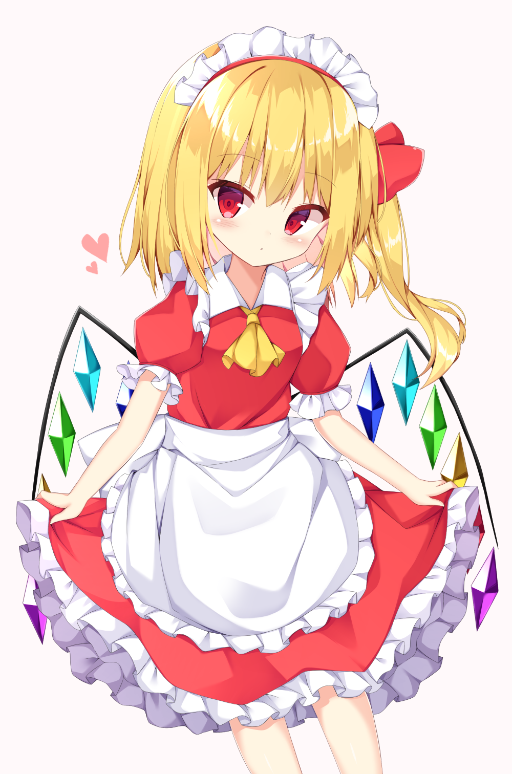 1girl alternate_costume alternate_headwear apron bangs blonde_hair blush commentary contrapposto cravat cropped_legs enmaided expressionless eyebrows_visible_through_hair feet_out_of_frame flandre_scarlet gradient gradient_background hair_ribbon head_tilt heart highres kuraaken lifted_by_self looking_at_viewer maid maid_headdress one_side_up petticoat pink_background puffy_short_sleeves puffy_sleeves red_eyes red_shirt red_skirt ribbon shiny shiny_hair shirt short_hair short_sleeves skirt skirt_lift skirt_set solo touhou waist_apron white_background wings yellow_neckwear
