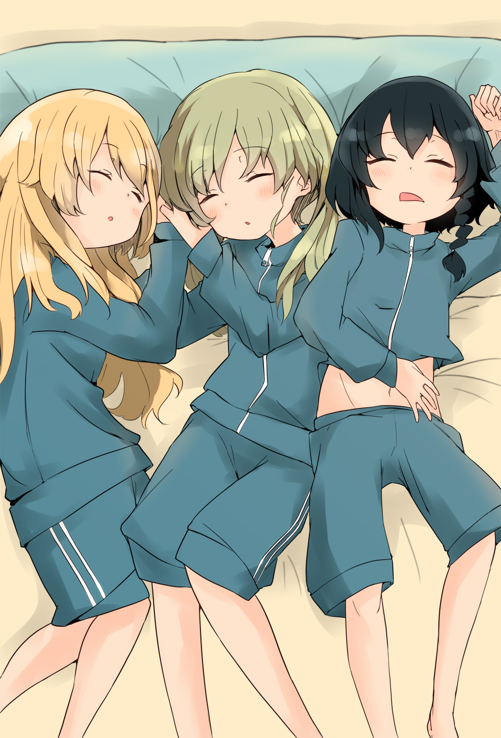 3girls alternate_hairstyle anchovy_(girls_und_panzer) barashiya black_hair blonde_hair blue_jacket blue_shorts braid carpaccio_(girls_und_panzer) closed_eyes commentary double_vertical_stripe eyebrows_visible_through_hair from_above girl_sandwich girls_und_panzer green_hair gym_shorts gym_uniform hair_down hair_tie highres jacket jacket_lift long_hair long_sleeves lying multiple_girls navel on_back on_bed open_mouth parted_lips pepperoni_(girls_und_panzer) sandwiched short_hair shorts side-by-side side_braid sleeping track_jacket zipper