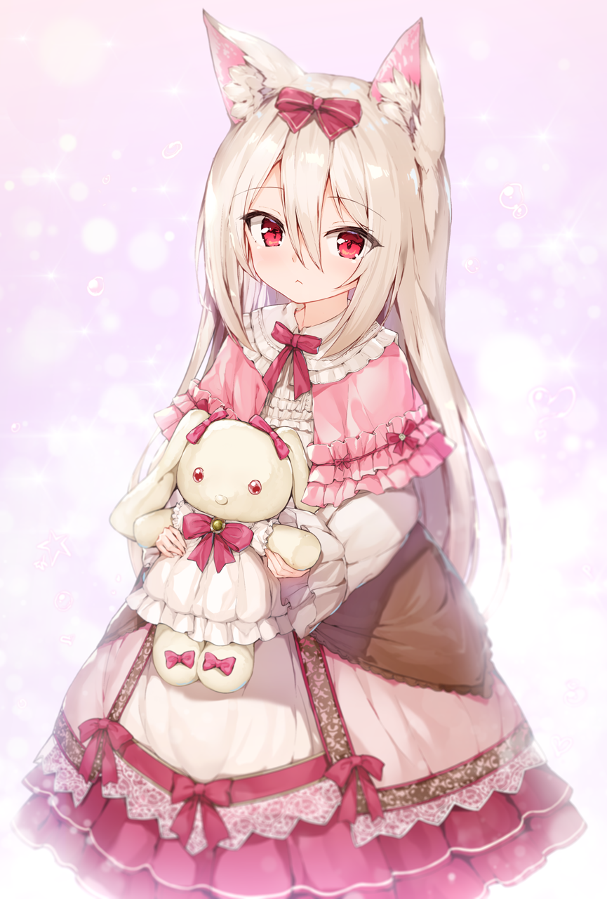 1girl :< animal_ear_fluff animal_ears bangs blush bow capelet closed_mouth commentary_request dress eyebrows_visible_through_hair frilled_capelet frills hair_between_eyes hair_bow highres holding holding_stuffed_animal long_hair long_sleeves looking_at_viewer original pink_capelet puffy_long_sleeves puffy_short_sleeves puffy_sleeves red_bow red_eyes rekareka short_sleeves silver_hair solo stuffed_animal stuffed_bunny stuffed_toy very_long_hair white_dress