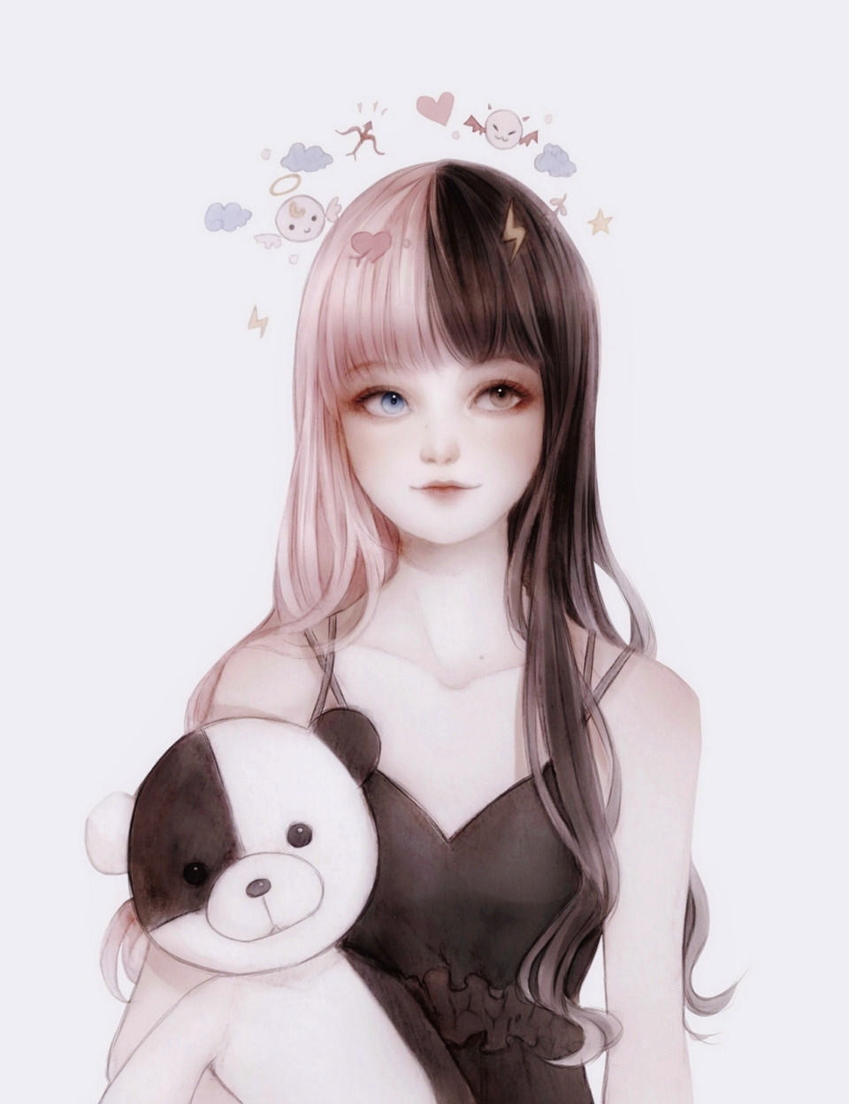 1girl bangs bare_shoulders black_hair blue_eyes blunt_bangs brown_eyes closed_mouth collarbone emoji frills heart heterochromia highres lightning_bolt long_hair looking_away multicolored_hair multiple_straps original pink_hair simple_background sleeveless smile solo spaghetti_strap star_(symbol) stuffed_animal stuffed_toy symbol_commentary teddy_bear tency traditional_media two-tone_hair upper_body watercolor_(medium)