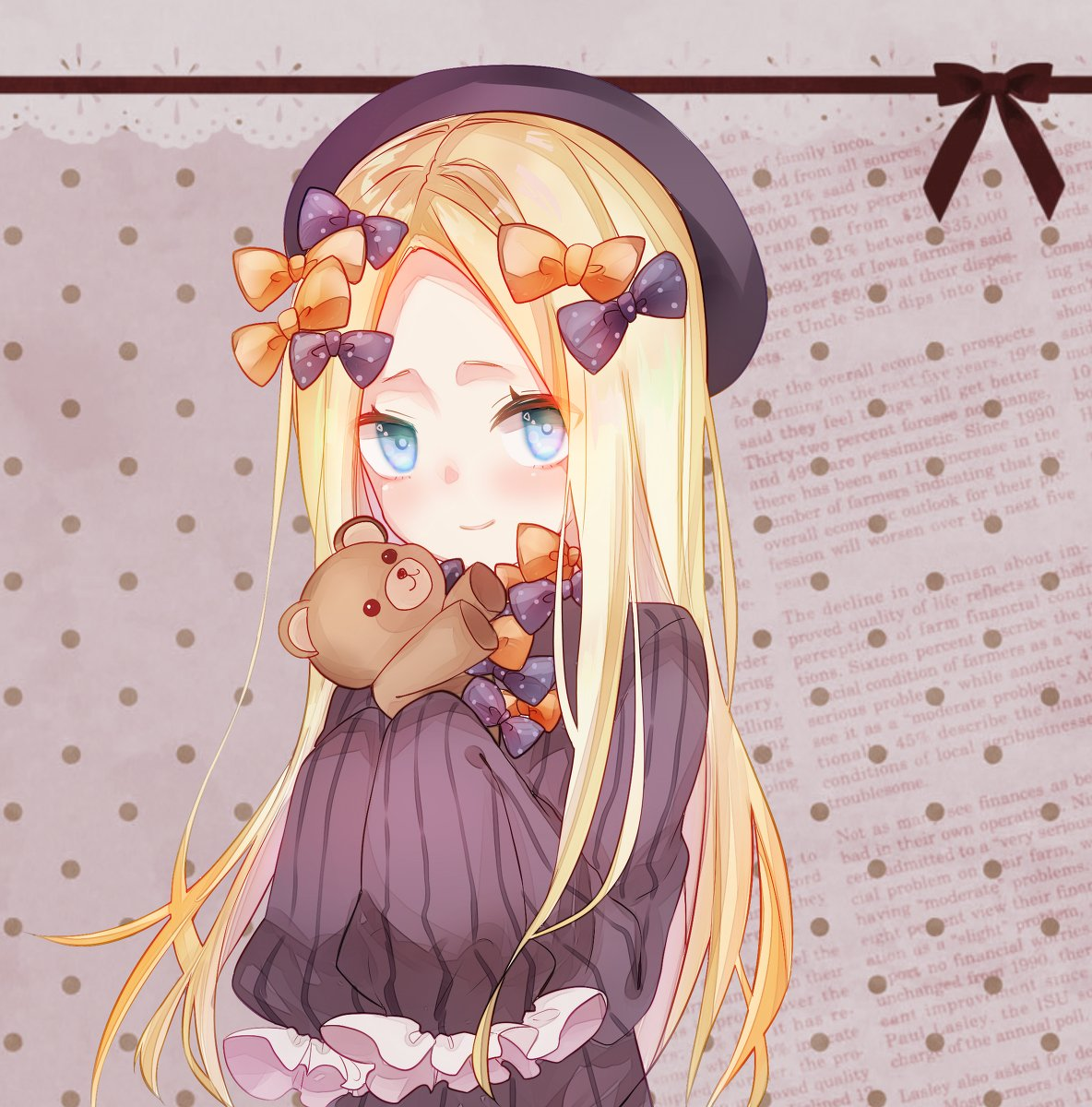 1girl abigail_williams_(fate/grand_order) bangs black_bow black_dress black_headwear blonde_hair blue_eyes blush bow breasts canary999 closed_mouth dress fate/grand_order fate_(series) forehead hair_bow hat highres holding holding_stuffed_animal long_hair looking_at_viewer multiple_bows orange_bow parted_bangs polka_dot polka_dot_background polka_dot_bow ribbed_dress sleeves_past_fingers sleeves_past_wrists small_breasts smile stuffed_animal stuffed_toy teddy_bear