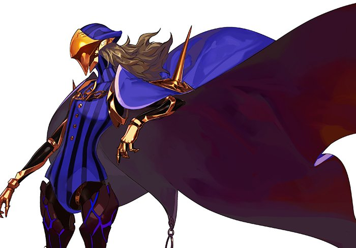 1boy armor avicebron_(fate) blonde_hair blue_capelet bodysuit cape capelet faceless fate/apocrypha fate/grand_order fate_(series) from_side joints long_hair male_focus mask pako robot_joints shiny shiny_hair solo standing upper_body white_background
