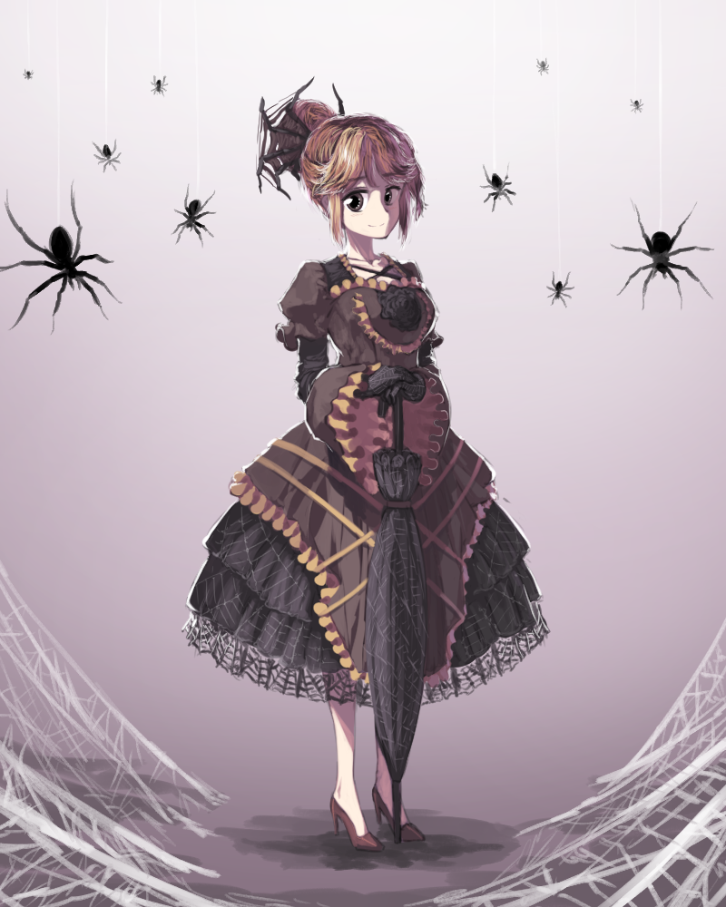 1girl black_flower black_gloves black_rose black_umbrella blonde_hair brown_footwear bug closed_mouth closed_umbrella collarbone commentary cross cross-laced_clothes eyebrows_visible_through_hair floral_print flower frilled_sleeves frills full_body gloves gothic_lolita gradient gradient_background hair_bun kurodani_yamame layered_skirt lolita_fashion long_sleeves looking_at_viewer puffy_short_sleeves puffy_sleeves rose shaded_face shadow shirt short_sleeves silk simple_background skirt solo spider spider_web standing sunyup touhou umbrella umbrella_stand wide_sleeves