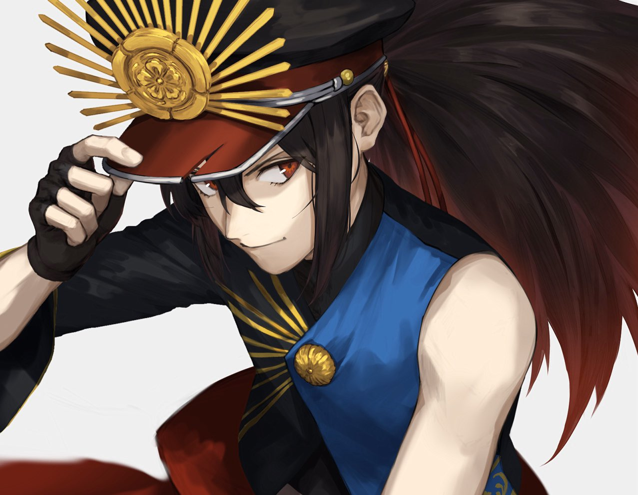 1other bangs black_gloves black_hair crop_top family_crest fate/grand_order fate_(series) fingerless_gloves gloves hand_on_headwear hat koha-ace kouzuki_kei looking_at_viewer multicolored_hair oda_kippoushi_(fate) oda_nobunaga_(fate)_(all) oda_uri parted_bangs peaked_cap ponytail red_eyes shiny shiny_hair single_sleeve smile white_background