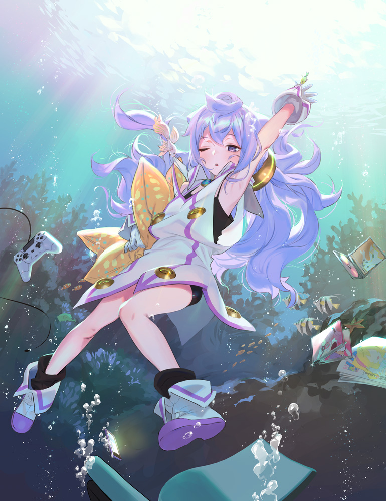 1boy bike_shorts blue_hair boots cd cd_case controller fish game_controller gloves hacka_doll hacka_doll_3 long_hair male_focus naoko_(naonocoto) one_eye_closed open_mouth otoko_no_ko solo underwater white_gloves