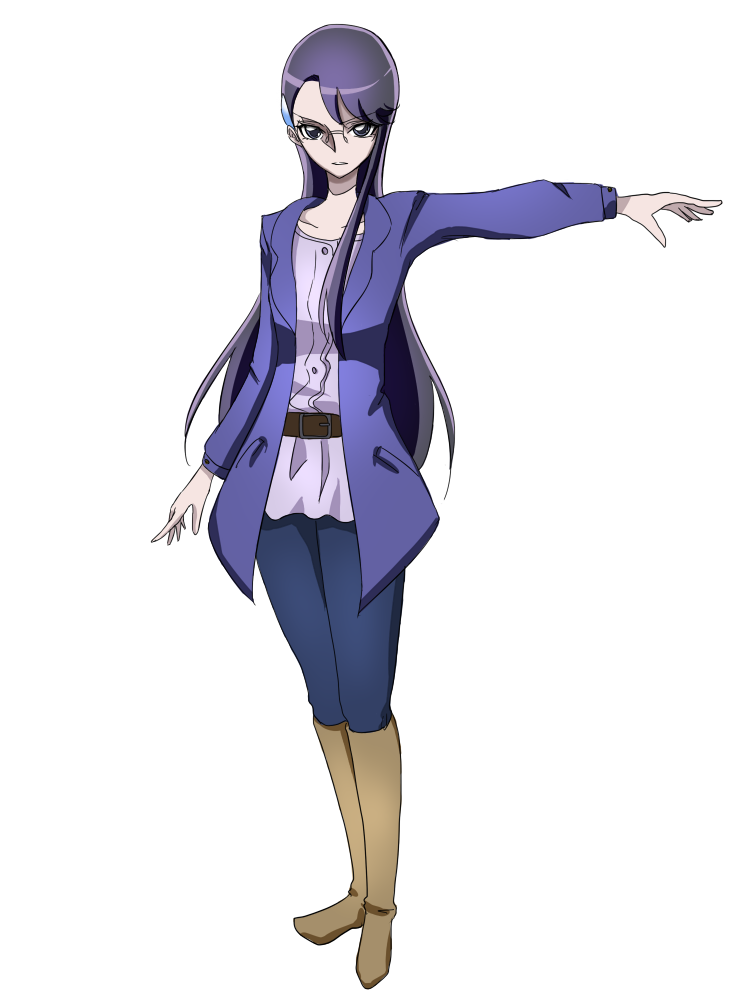 1girl bangs belt belt_buckle black_hair blue_jacket blue_pants boots brown_belt brown_footwear buckle collarbone floating_hair full_body glasses hair_ornament hairclip heartcatch_precure! jacket knee_boots long_hair long_sleeves looking_at_viewer open_clothes open_jacket outstretched_arm pants precure rimless_eyewear shiny shiny_hair shirt simple_background solo standing swept_bangs tsukikage_oyama tsukikage_yuri very_long_hair white_background white_shirt