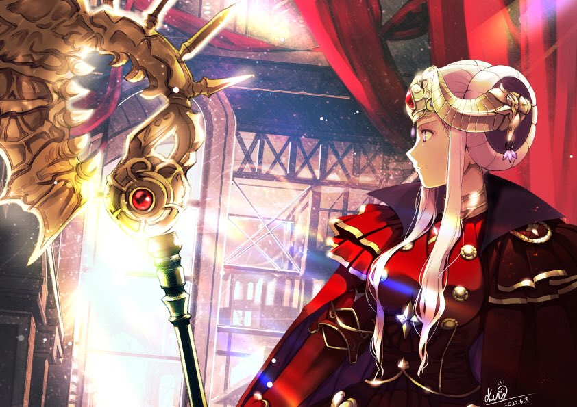 1girl axe aymr_(weapon) closed_mouth dated edelgard_von_hresvelg fire_emblem fire_emblem:_three_houses headpiece holding holding_axe horns kero_sweet signature solo upper_body violet_eyes white_hair