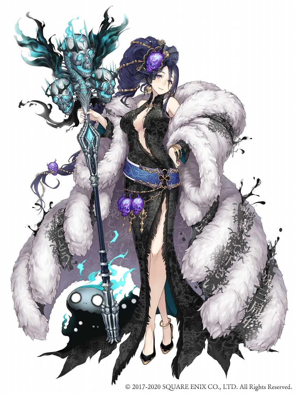 1girl anklet black_dress black_hair blue_eyes bracelet breasts center_opening crossed_legs dress earrings full_body fur_coat fur_trim gold_trim hand_on_hip high_heels highres holding holding_staff jewelry ji_no kaguya_hime_(sinoalice) large_breasts long_hair looking_at_viewer nail_polish nightmare_(sinoalice) official_art side_slit sinoalice skull solo square_enix staff very_long_hair watson_cross white_background