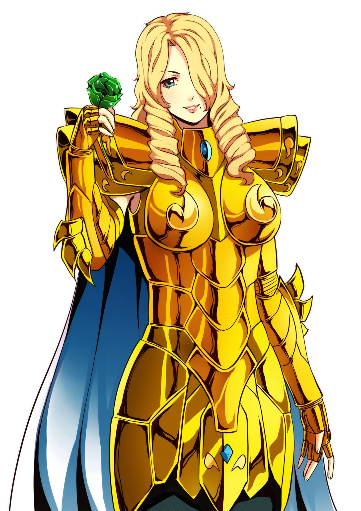 1girl armor blonde_hair blue_eyes drill_hair flower gauntlets gold_armor gold_cloth gold_saint hair_over_one_eye highres holding holding_flower long_hair looking_at_viewer saint_seiya shoulder_armor simple_background solo spaulders white_background