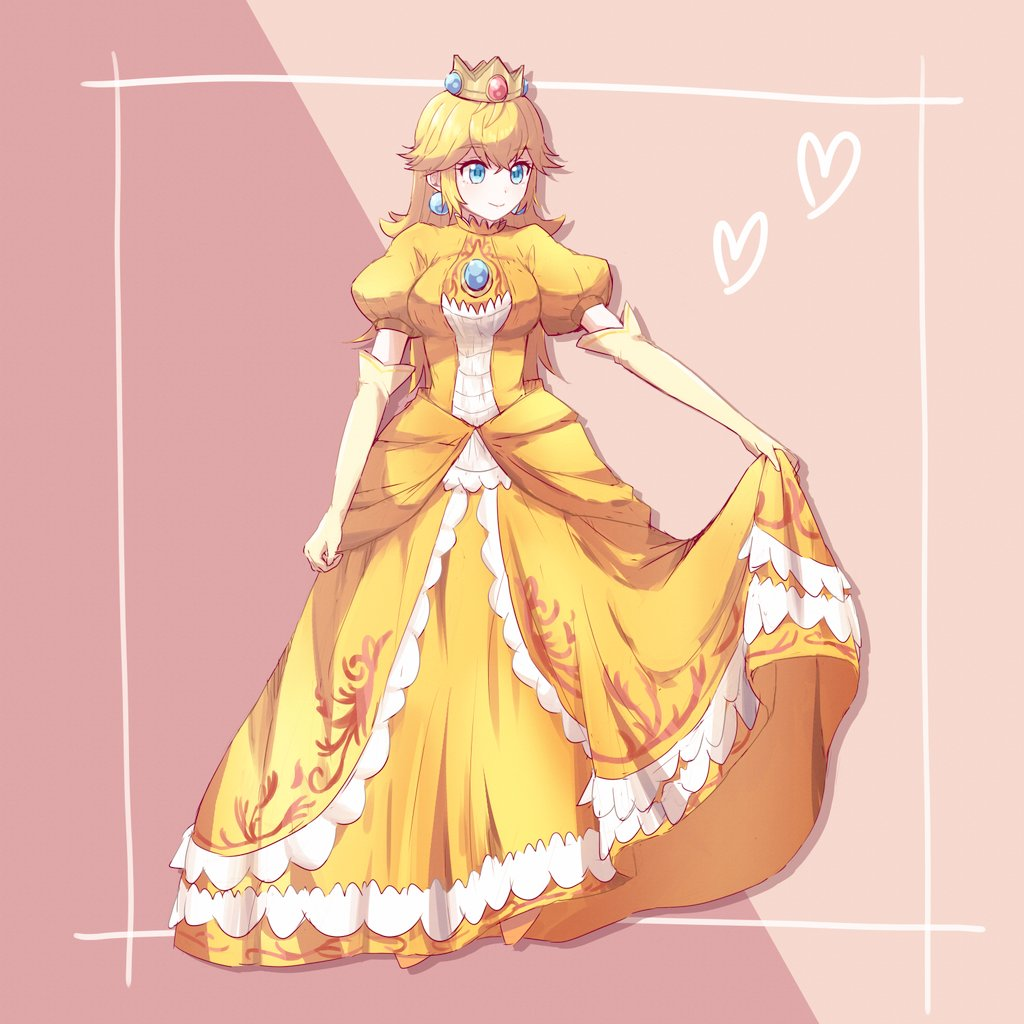1girl alternate_color bangs blonde_hair blue_eyes breasts brooch closed_mouth crown dress dress_lift earrings elbow_gloves eyebrows_visible_through_hair full_body gloves hair_between_eyes heart jewelry lifted_by_self long_hair mario_(series) medium_breasts misowhite princess princess_peach puffy_short_sleeves puffy_sleeves short_sleeves smile solo super_smash_bros. yellow_dress yellow_gloves