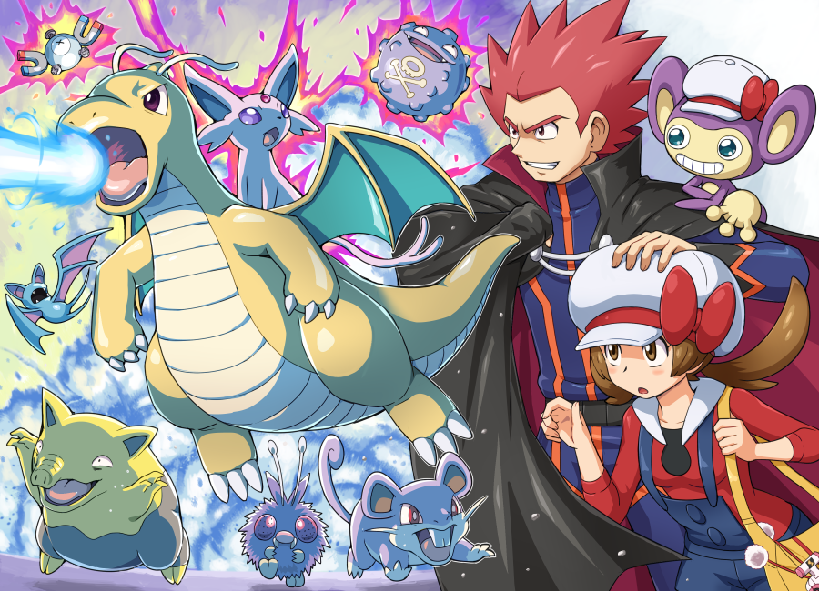 1boy 1girl age_difference aipom attack bag black_cape blue_overalls blush bow brown_eyes brown_hair cape clenched_teeth dragon dragonite drowzee espeon gen_1_pokemon gen_2_pokemon hand_on_another's_head hat hat_bow koffing kotone_(pokemon) long_hair magnemite open_mouth orange_bag overalls pokemoa pokemon pokemon_(creature) pokemon_(game) pokemon_hgss rattata red_bow redhead spiky_hair teeth tongue twintails venonat wataru_(pokemon) white_headwear zubat