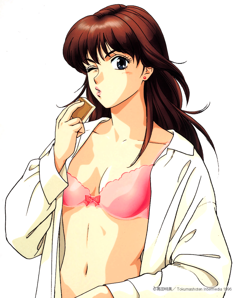 1990s_(style) 1996 1girl blue_eyes bra brown_hair copyright dated dress_shirt earrings highres holding jewelry lips long_hair long_sleeves mahjong mahjong_tile navel one_eye_closed open_clothes open_shirt pc_engine_fan pink_bra puckered_lips shirt simple_background solo stud_earrings takada_akemi underwear white_background white_shirt