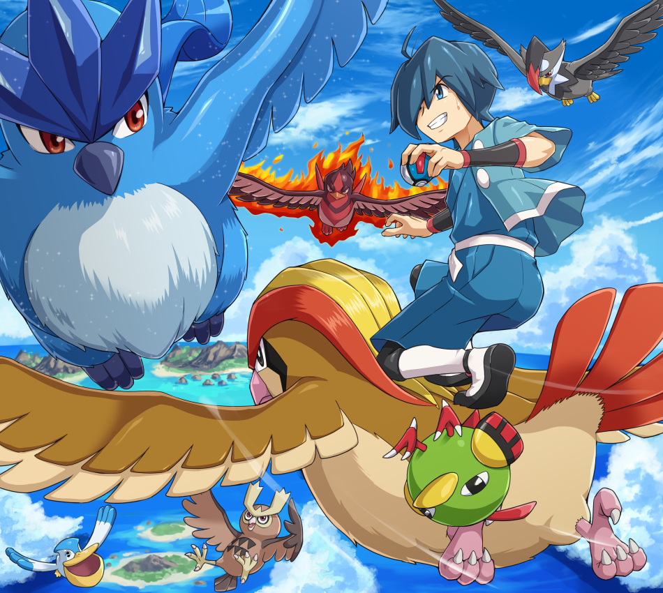 1boy ahoge articuno black_footwear black_wristband blue_eyes blue_hair blue_shorts clenched_teeth clouds day eyebrows_visible_through_hair flying gen_1_pokemon gen_2_pokemon gen_3_pokemon gen_4_pokemon great_ball gym_leader hair_over_one_eye hayato_(pokemon) holding holding_poke_ball legendary_pokemon looking_back motion_lines natu noctowl ocean one_knee outdoors pelipper pidgeot poke_ball pokemoa pokemon pokemon_(creature) pokemon_(game) pokemon_hgss riding_pokemon short_hair shorts sky smile staraptor swellow teeth water wristband