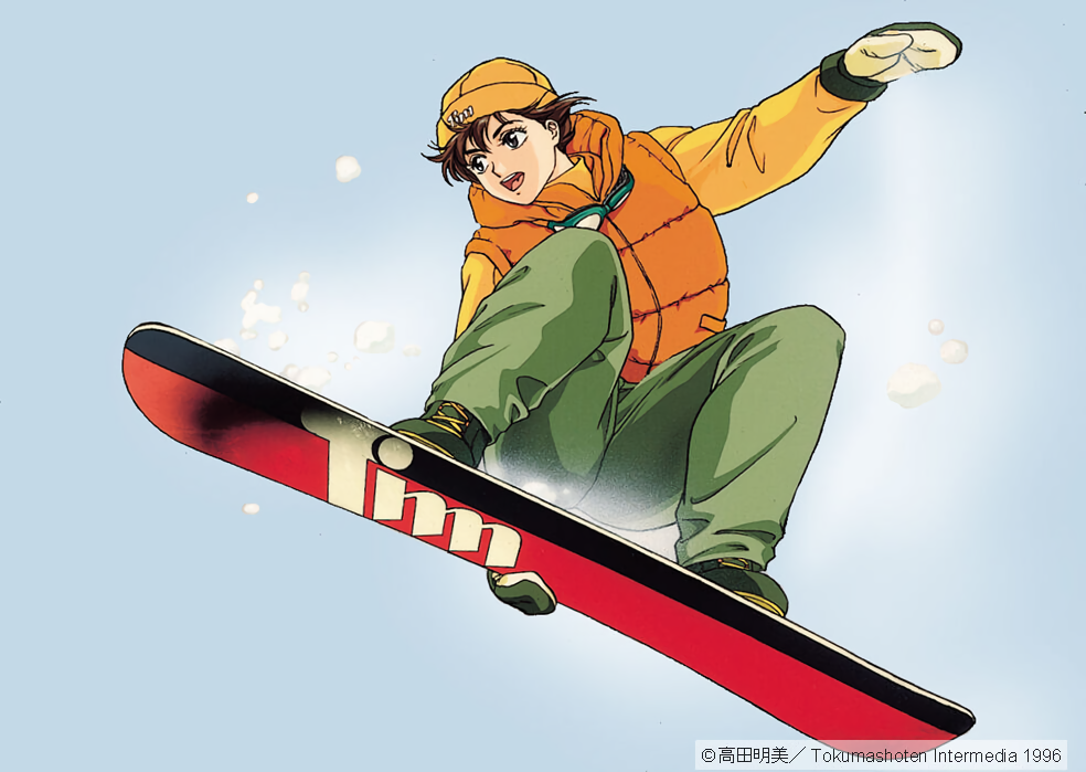1990s_(style) 1996 1girl beanie brown_hair copyright dated goggles goggles_around_neck hat long_sleeves mittens open_mouth pc_engine_fan short_hair simple_background ski_gear snowboard snowboarding solo takada_akemi white_background winter_clothes