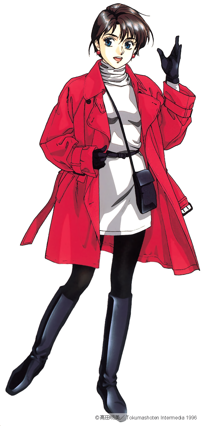 1990s_(style) 1996 1girl black_footwear black_gloves black_legwear blue_eyes boots brown_hair coat copyright dated earrings gloves highres jewelry knee_boots long_sleeves open_mouth pc_engine_fan red_coat short_hair simple_background solo takada_akemi turtleneck white_background