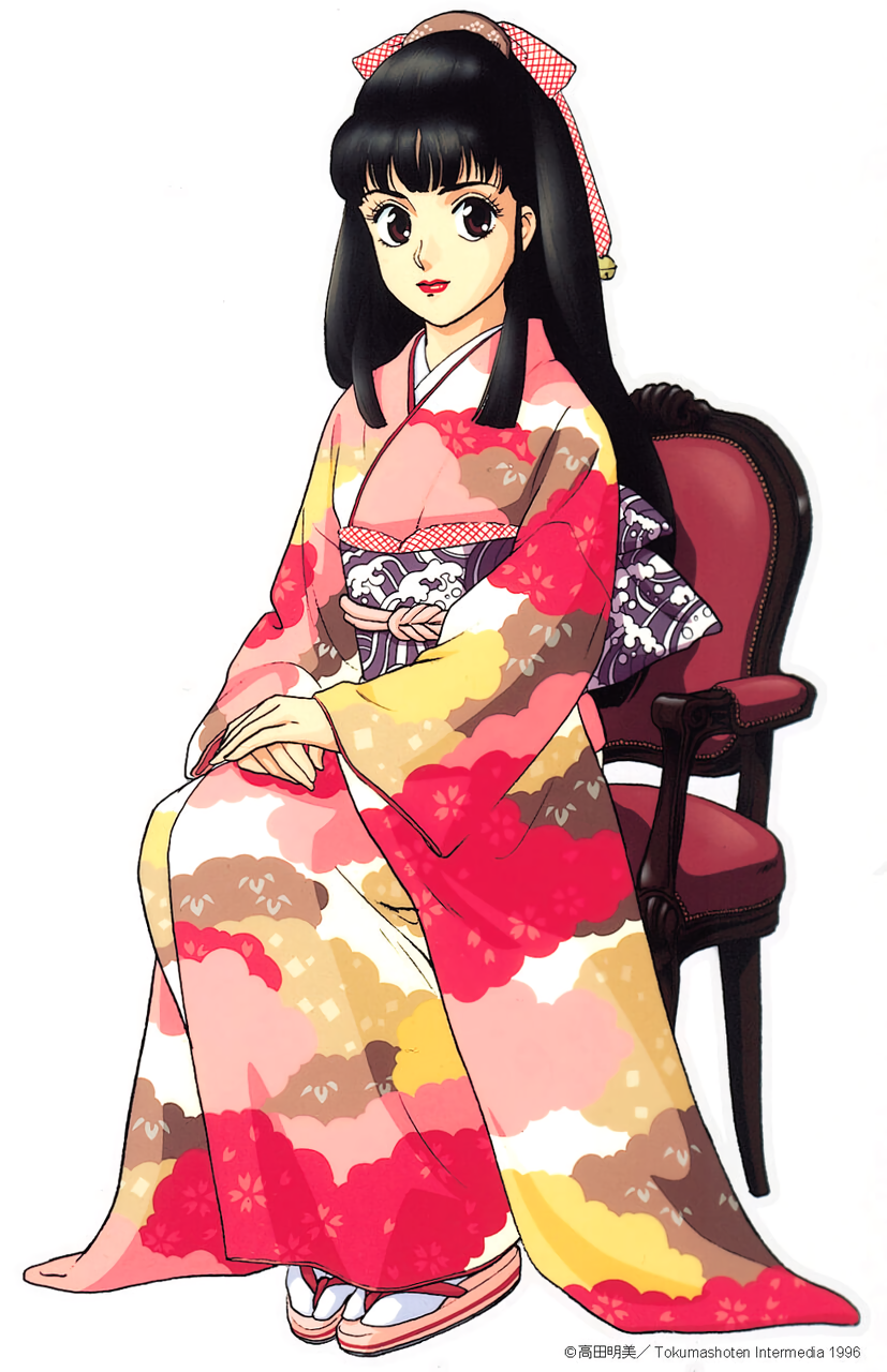 1990s_(style) 1996 1girl black_hair brown_eyes copyright dated expressionless full_body hands_together headdress highres japanese_clothes kimono long_hair long_sleeves looking_at_viewer obi on_chair pc_engine_fan red_lips sandals sash simple_background sitting solo tabi takada_akemi v_arms wave_print white_background
