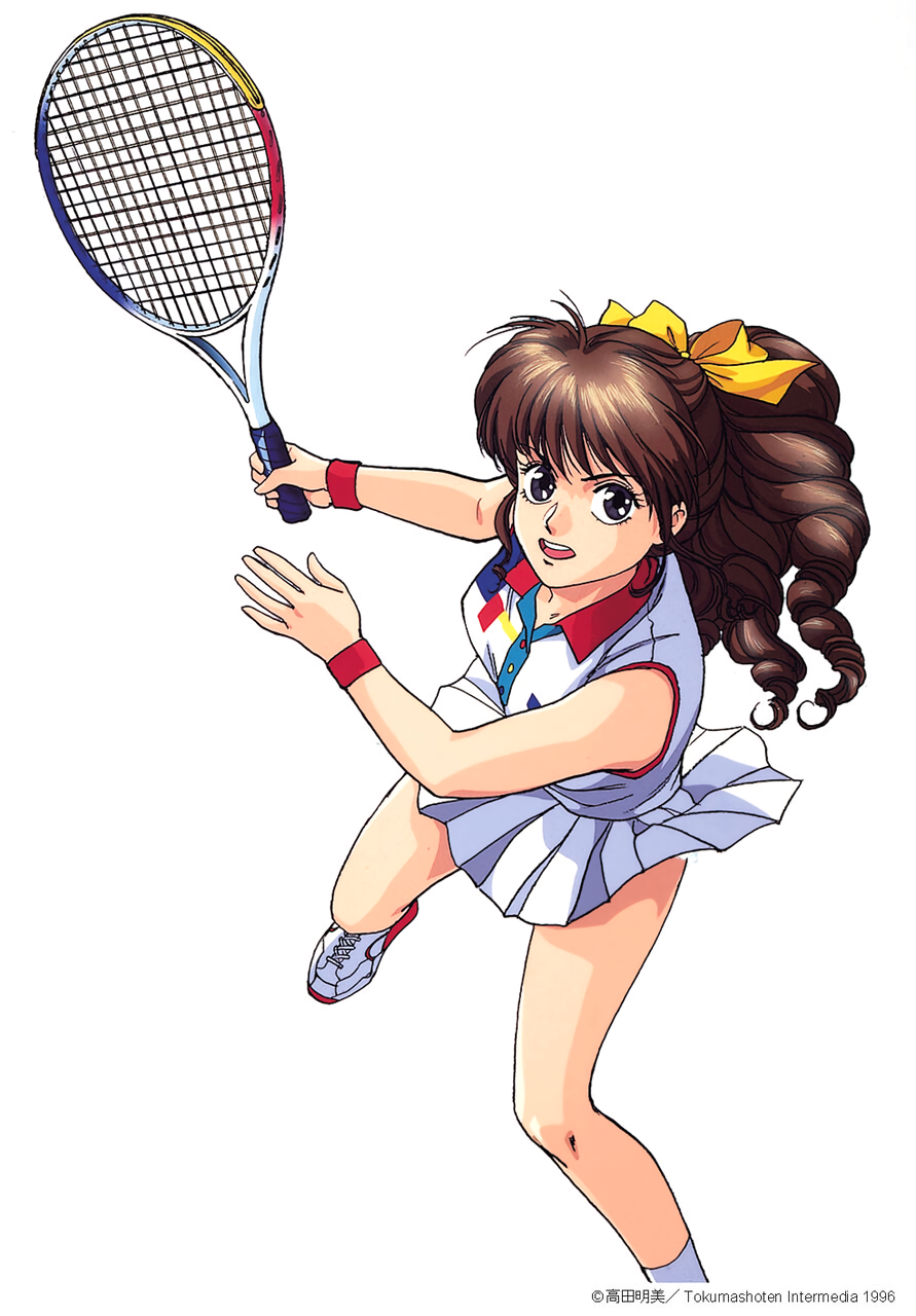 1996 1girl black_eyes brown_hair copyright copyright_name dated drill_hair highres long_hair looking_at_viewer open_mouth pc_engine_fan pleated_skirt ponytail shoes simple_background skirt sleeveless sneakers solo takada_akemi white_background white_skirt wristband