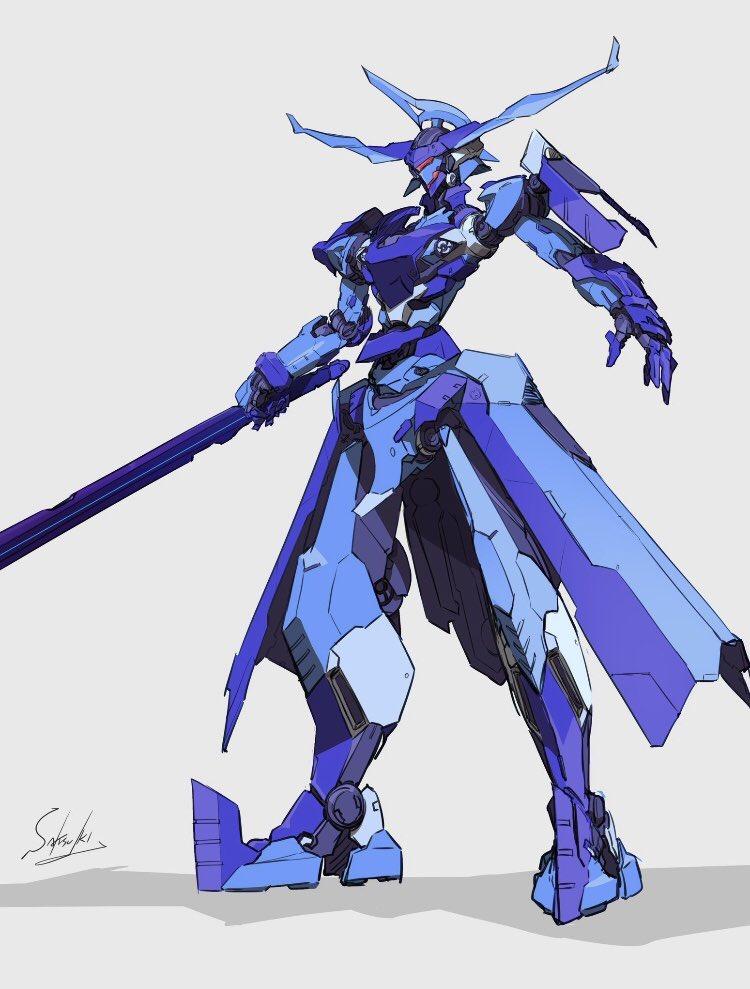 grey_background holding holding_sword holding_weapon i_411ii mecha mechanical_skirt no_humans original solo standing sword visor weapon