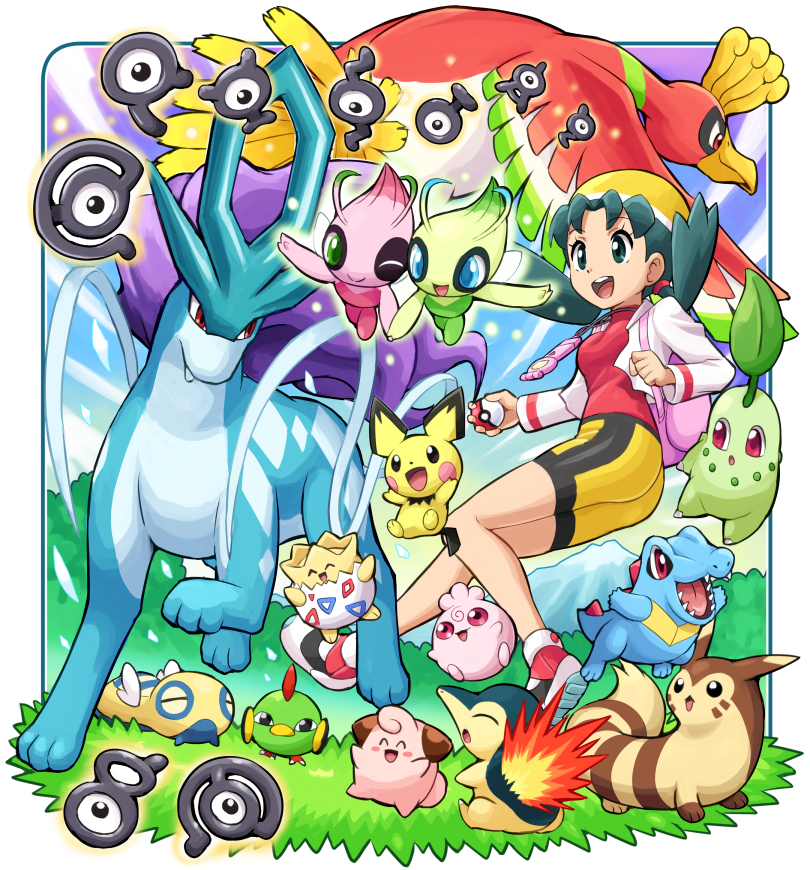 1girl alternate_color bike_shorts celebi chikorita cleffa crystal_(pokemon) cyndaquil dunsparce furret gen_2_pokemon ho-oh holding holding_poke_ball igglybuff legendary_pokemon mythical_pokemon natu pichu poke_ball pokemoa pokemon pokemon_(game) pokemon_gsc shiny_pokemon smile suicune togepi totodile twintails unown unown_a unown_c unown_l unown_r unown_s unown_t unown_y